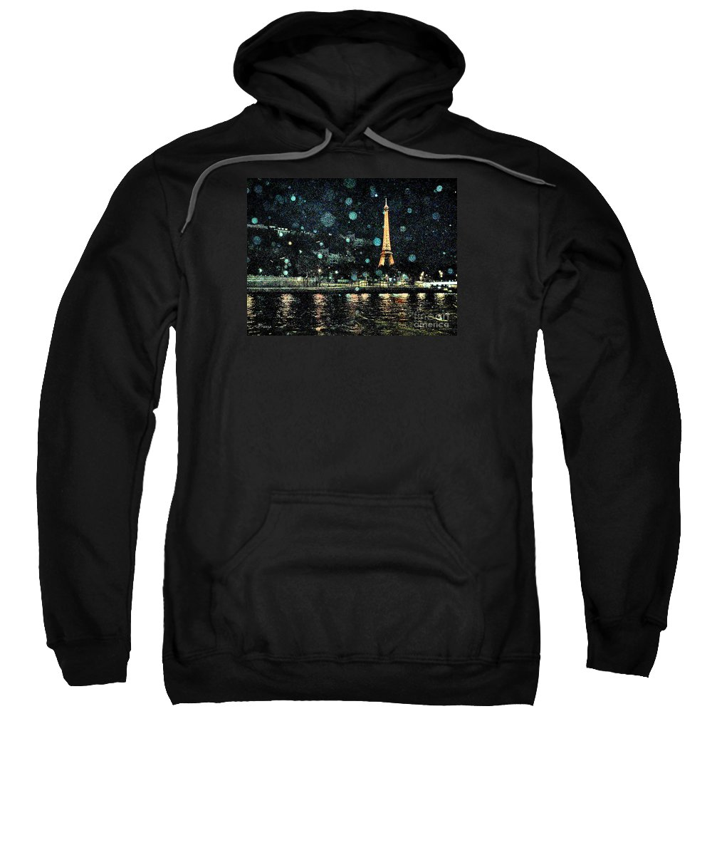 Paris Sweatshirt featuring the digital art My Van Gogh Eiffel Tower by Jennie Breeze