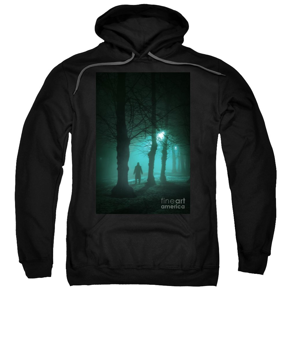 Man Sweatshirt featuring the photograph Mysterious Man In A Foggy Forest by Lee Avison