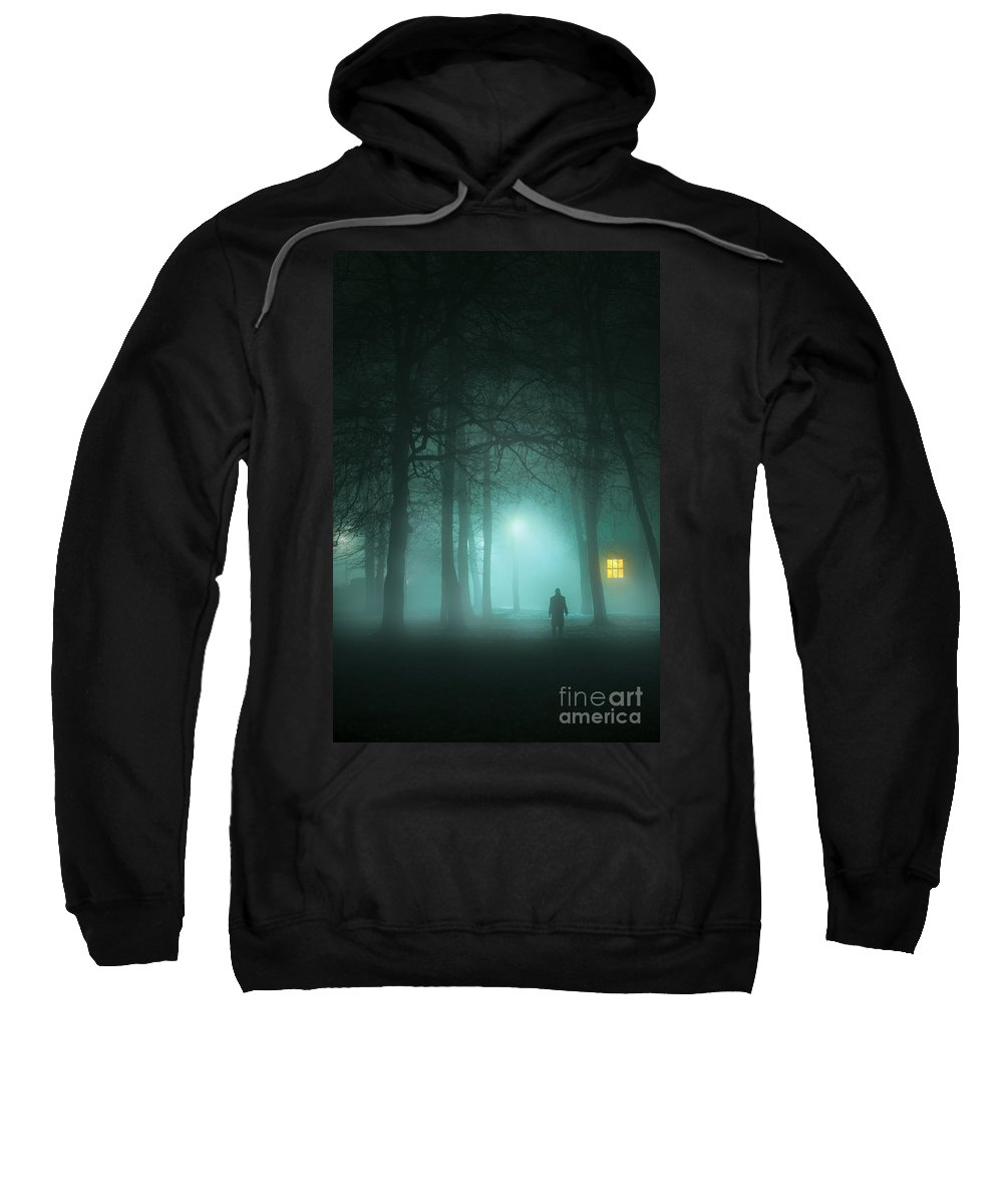 Man Sweatshirt featuring the photograph Mysterious Man In Fog With House And Window Light by Lee Avison