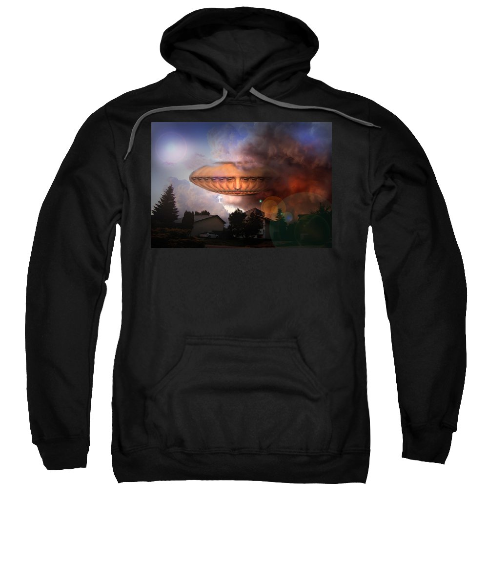 Surrealism Sweatshirt featuring the digital art Mystic Ufo by Otto Rapp
