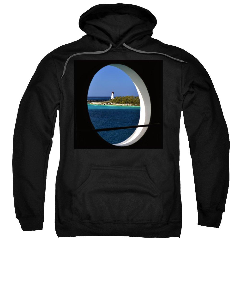Nassau Lighthouse Sweatshirt featuring the photograph Nassau Lighthouse Porthole View by Bill Swartwout Fine Art Photography