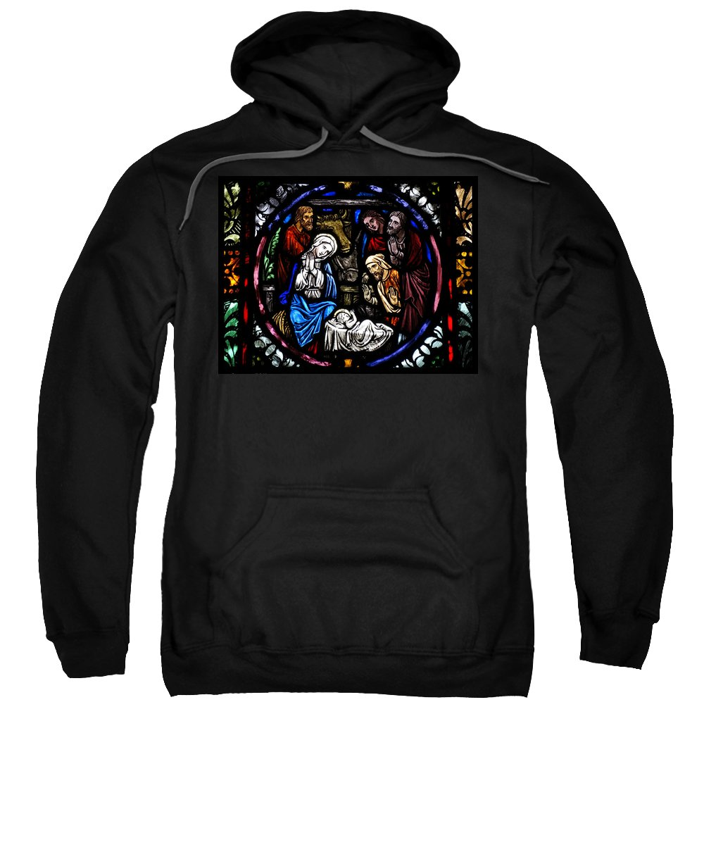 Nativity Sweatshirt featuring the photograph Nativity With Shepherds by David T Wilkinson