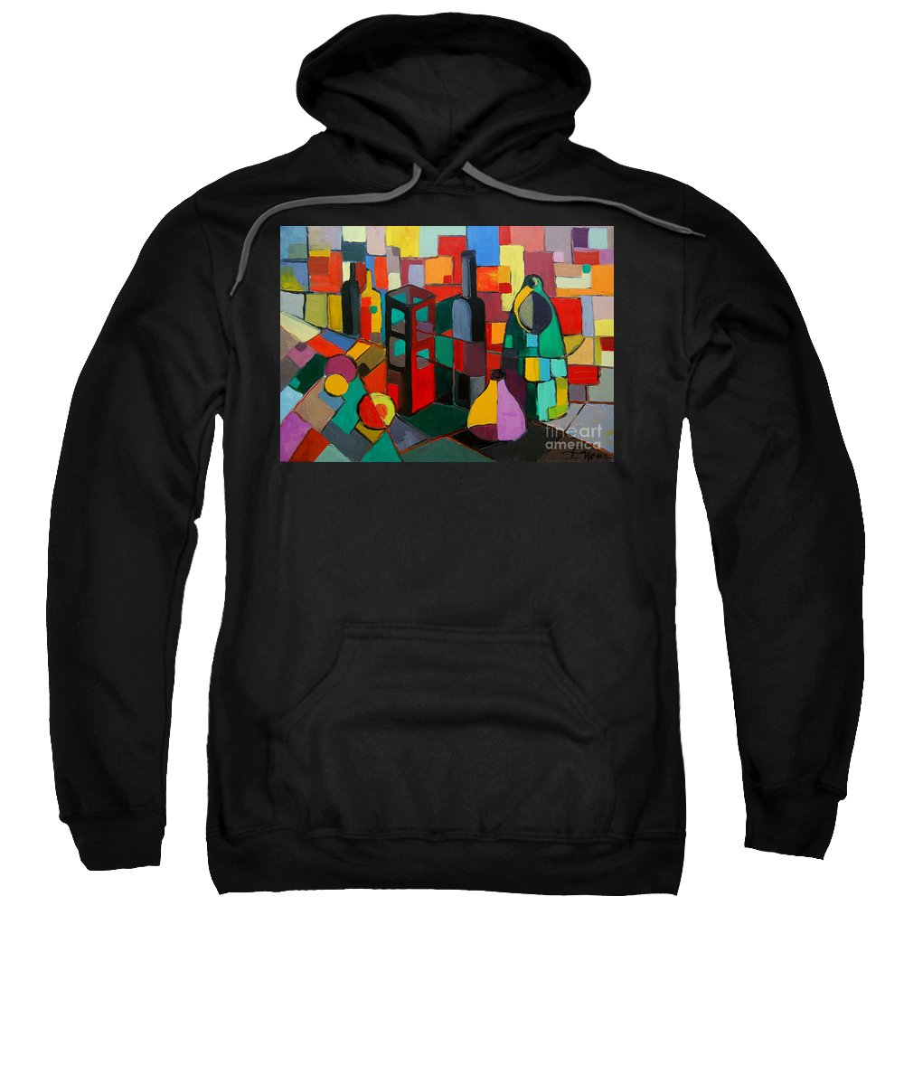 Nature Morte Cubiste Sweatshirt featuring the painting Nature Morte Cubiste by Mona Edulesco