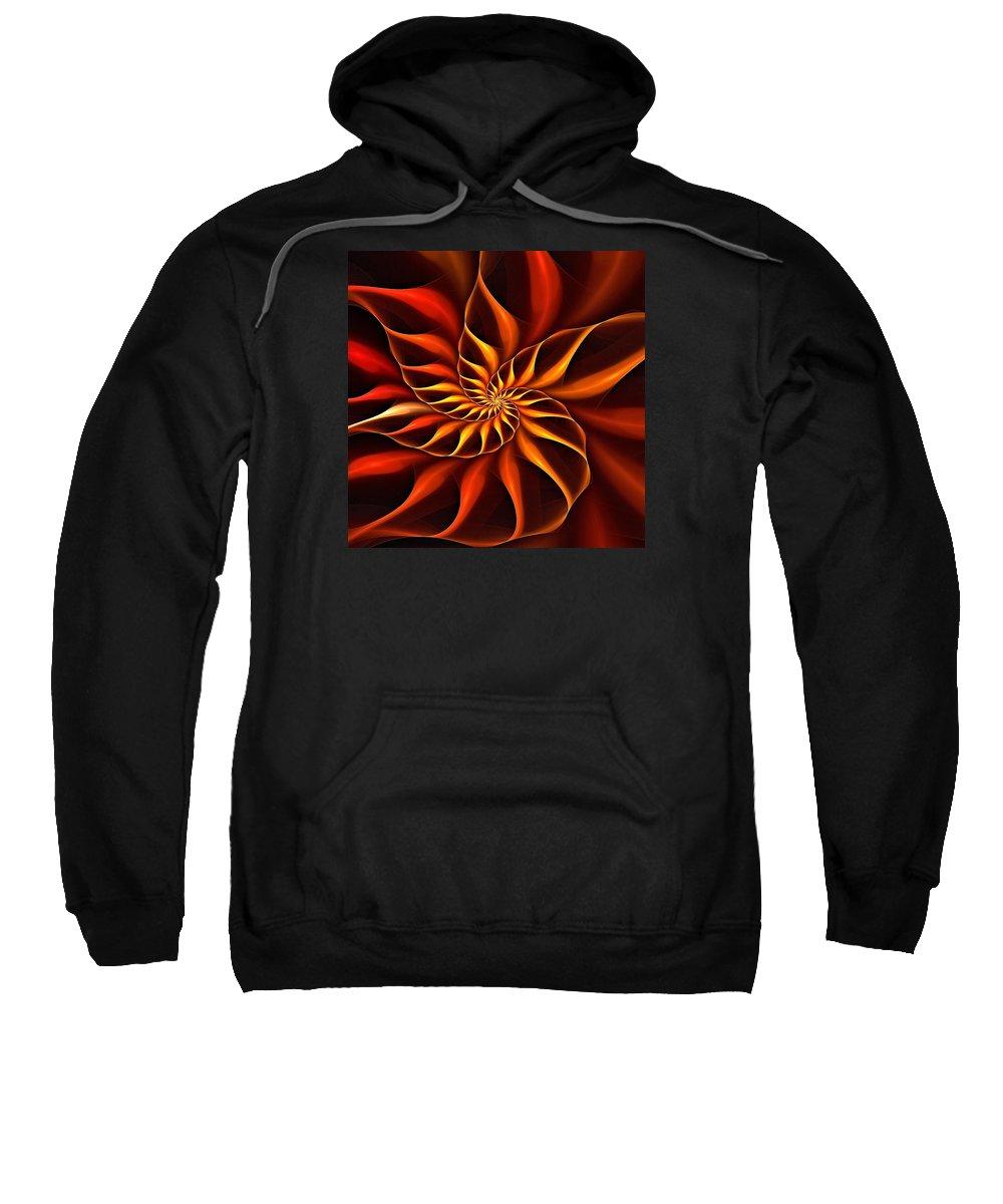 Flower Sweatshirt featuring the digital art Nautilus Fractalus Fire by Doug Morgan