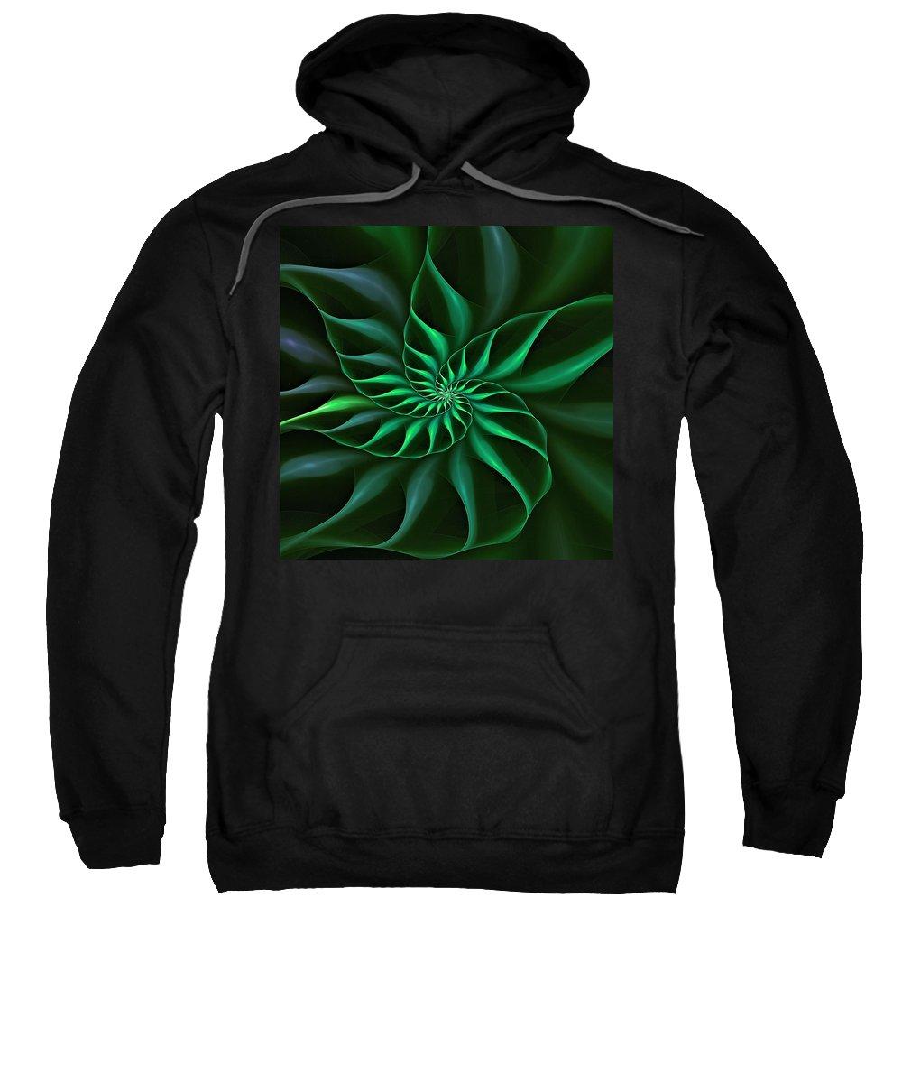 Flower Sweatshirt featuring the digital art Nautilus Fractalus Verdant Green by Doug Morgan