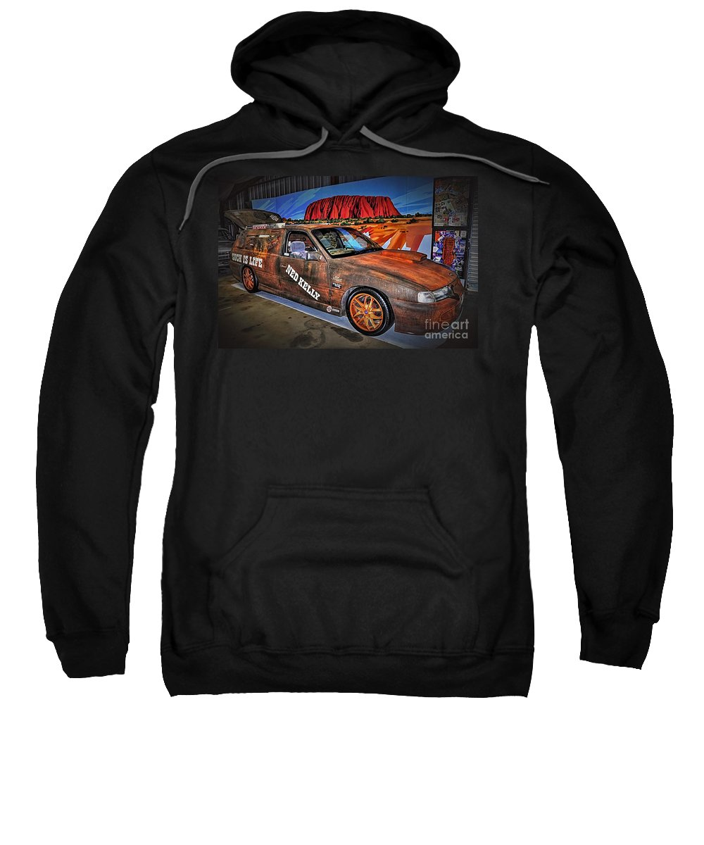 Photography Sweatshirt featuring the photograph Ned Kelly's Car At Ayers Rock by Kaye Menner