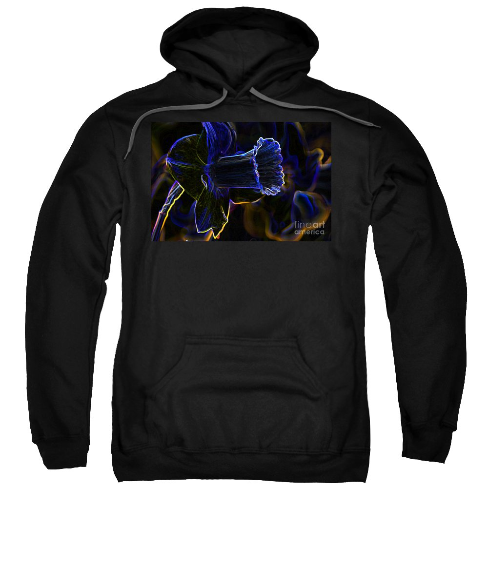 Neon Sweatshirt featuring the photograph Neon Flowers by Charles Dobbs