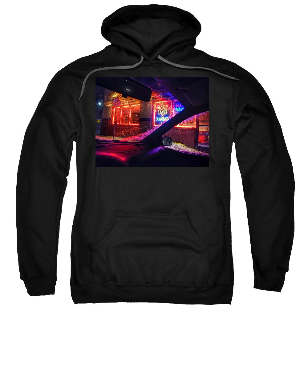 Building Sweatshirt featuring the photograph Neon Freeze by Christopher Foote