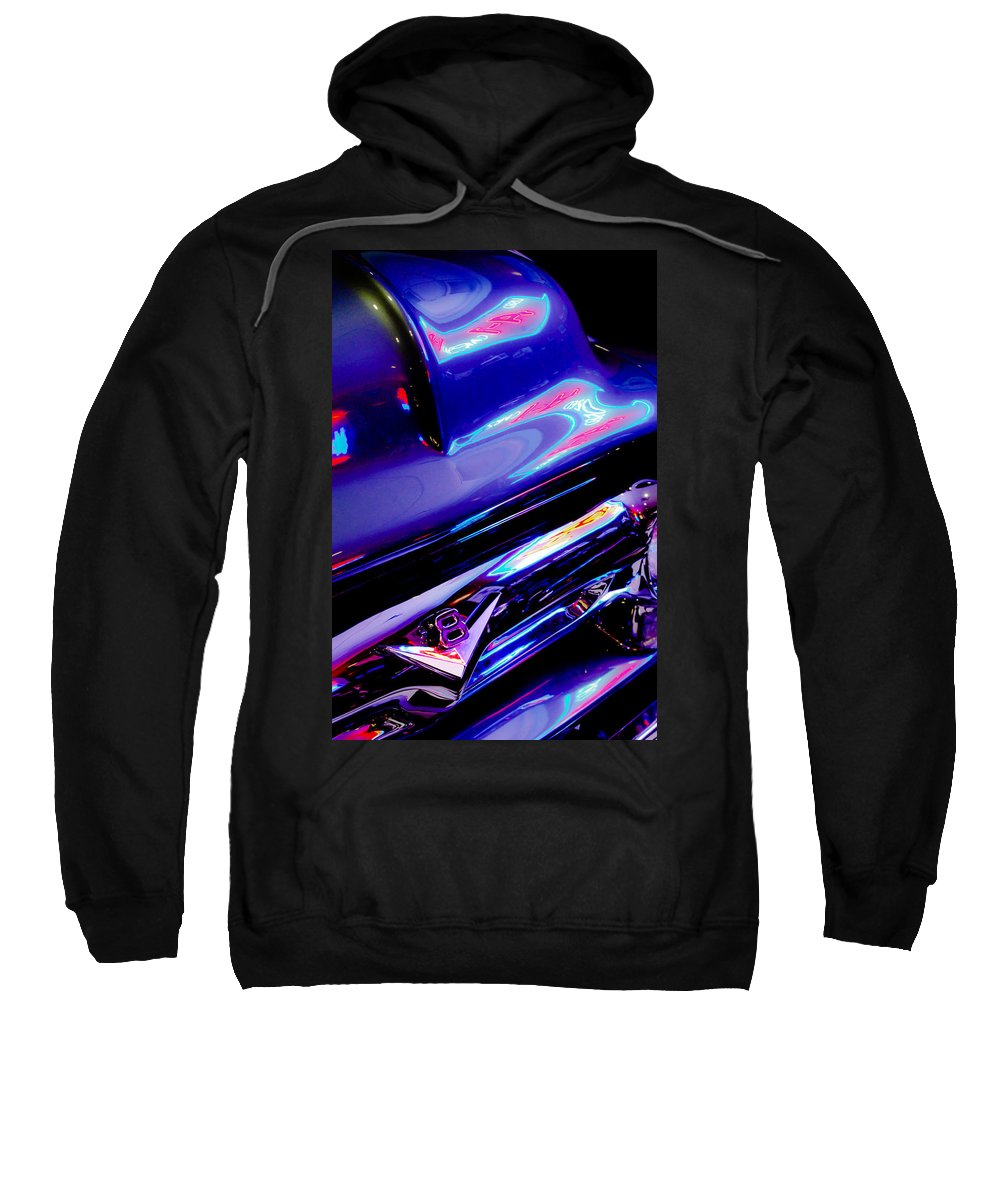 Neon Reflections - Ford V8 Pickup Truck Sweatshirt featuring the photograph Neon Reflections - Ford V8 Pickup Truck -1044c by Jill Reger