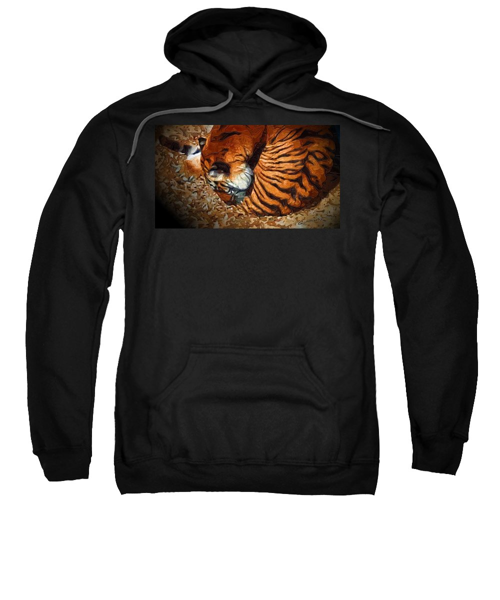Tiger Sweatshirt featuring the digital art Nestled Tiger by Michael Hurwitz