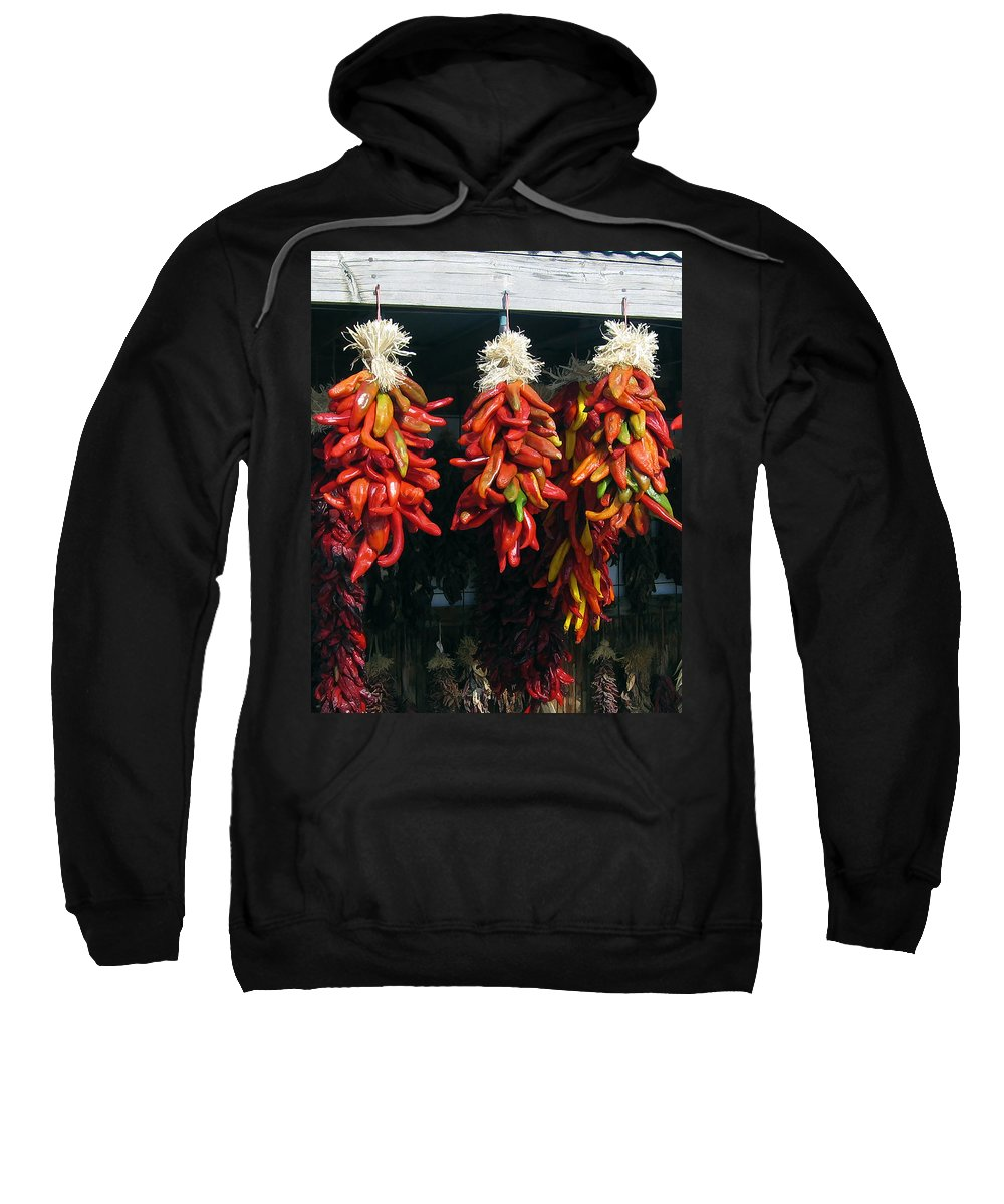 New Mexico Sweatshirt featuring the photograph New Mexico Red Chili Peppers by Kurt Van Wagner