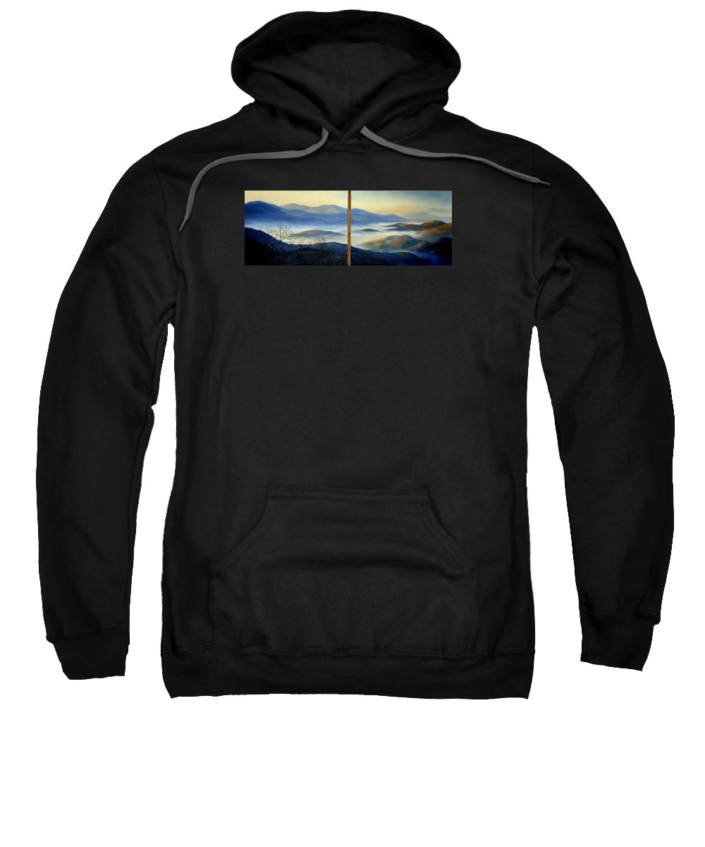 Mountains Sweatshirt featuring the painting New World by Mary Taglieri