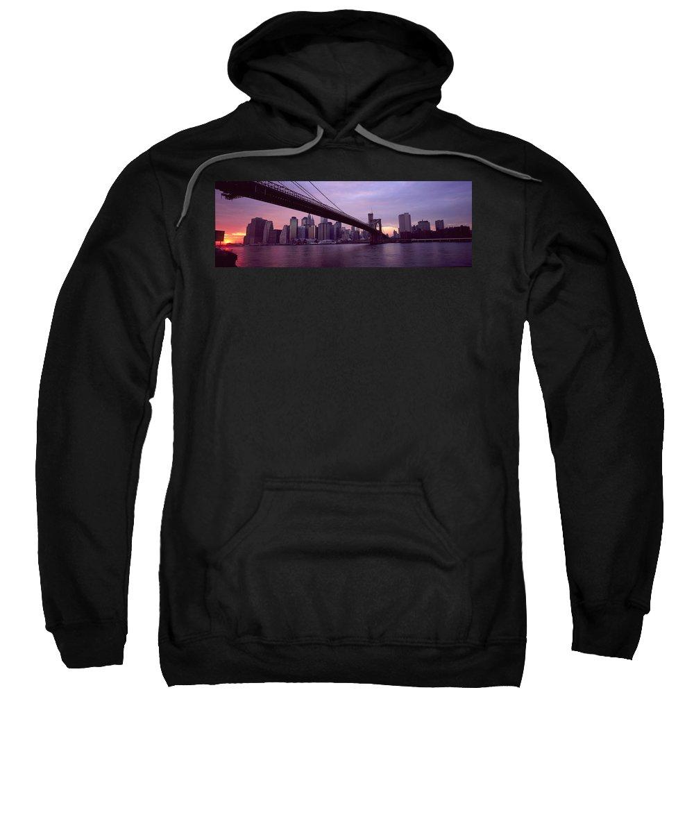 Bridge Sweatshirt featuring the photograph New York City by Axiom Photographic