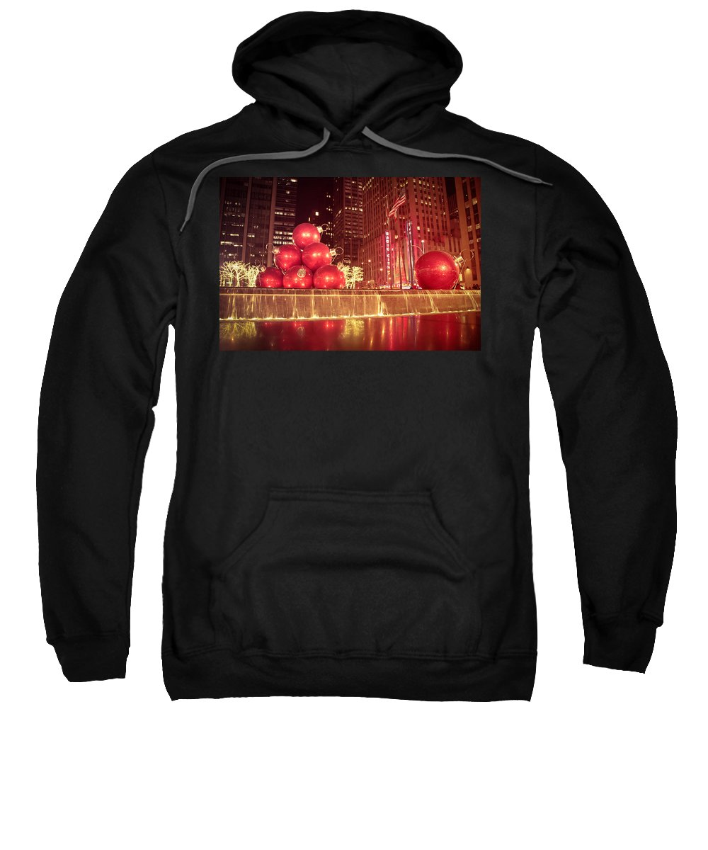 New York City Sweatshirt featuring the photograph New York City Holiday Decorations by Vivienne Gucwa
