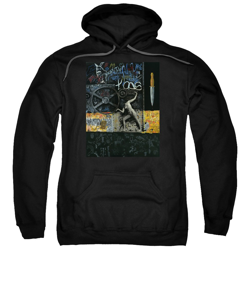 City Sweatshirt featuring the painting New York City by Yelena Tylkina