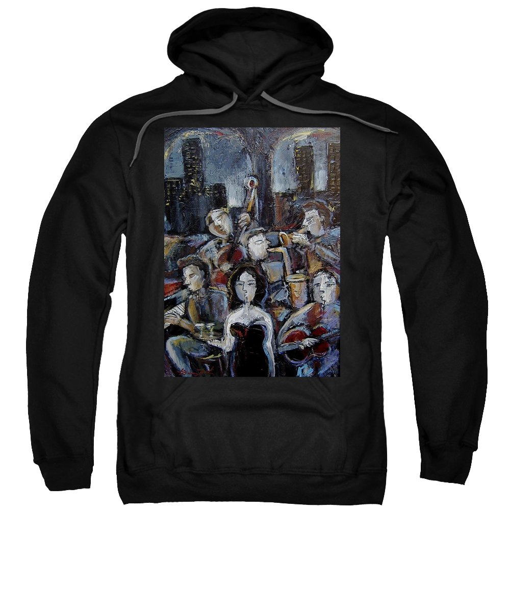Moody Jazz Bar Sweatshirt featuring the mixed media New York State Of Mind by Gerry High
