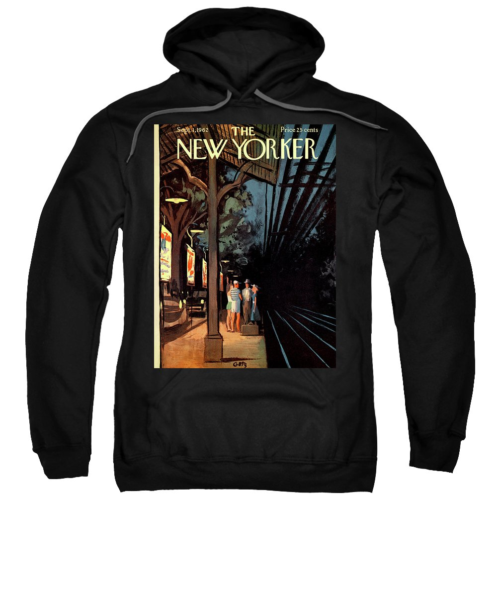 Wait Sweatshirt featuring the painting New Yorker September 1st, 1962 by Arthur Getz
