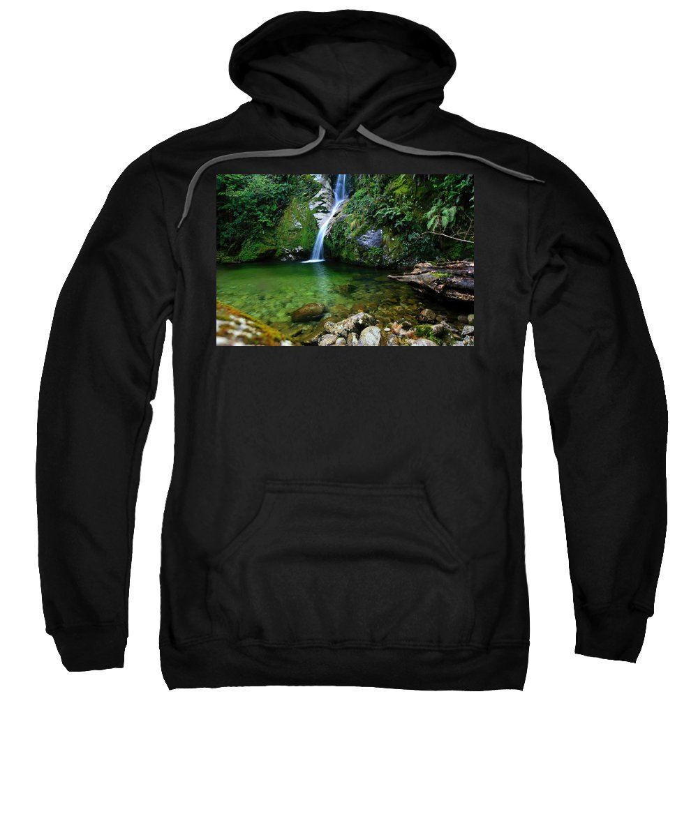 Waterfall Sweatshirt featuring the photograph New Zealand Mountain Pure by Amanda Stadther