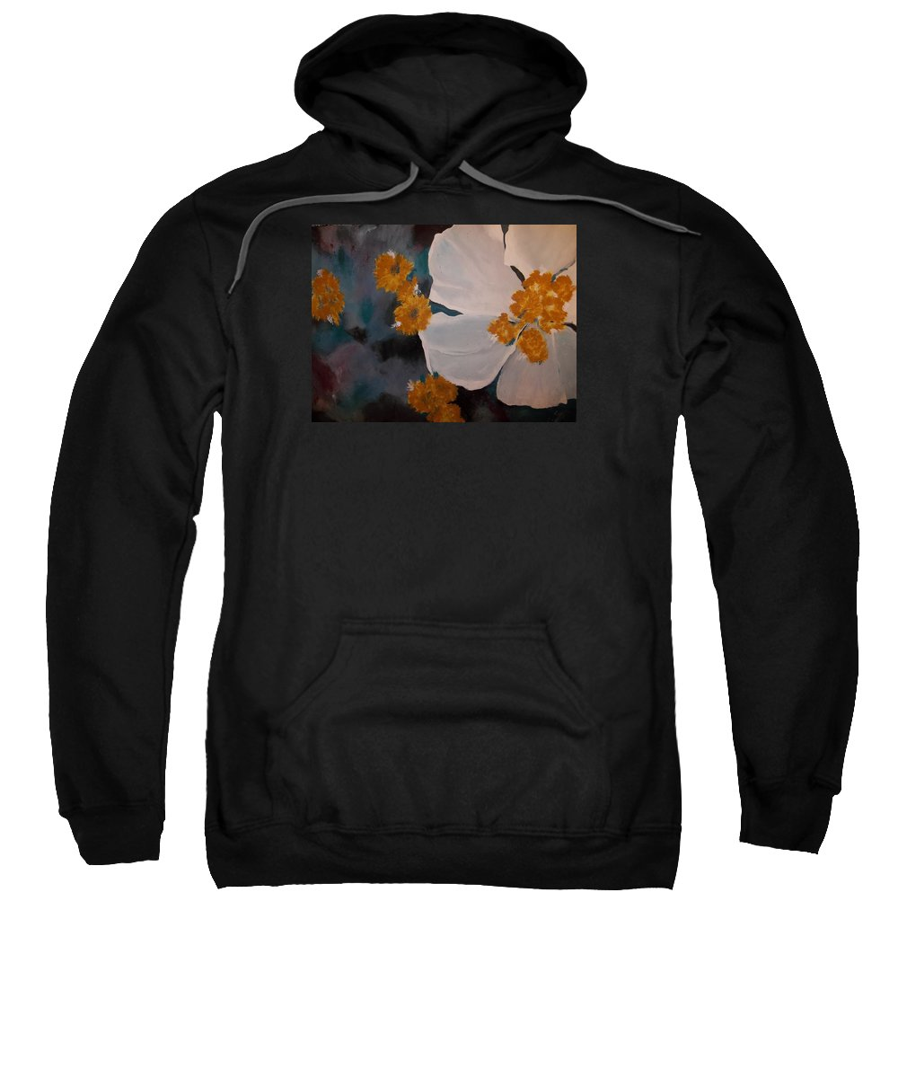 Free Form White Flower Sweatshirt featuring the painting Nicole's Flower by Alida Cooper