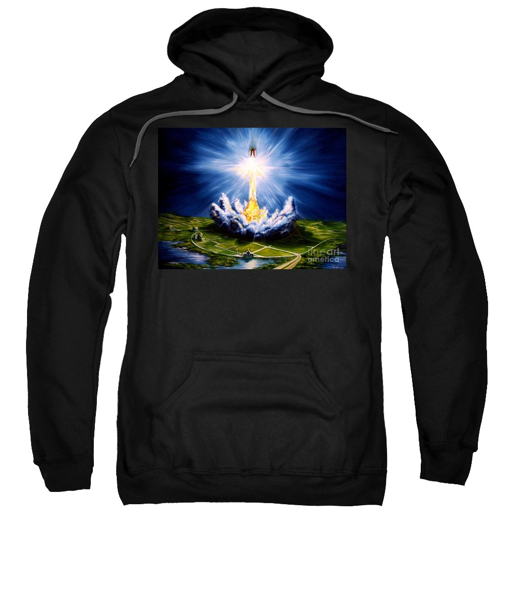 Landscape Sweatshirt featuring the painting Night At The Cape by Murphy Elliott