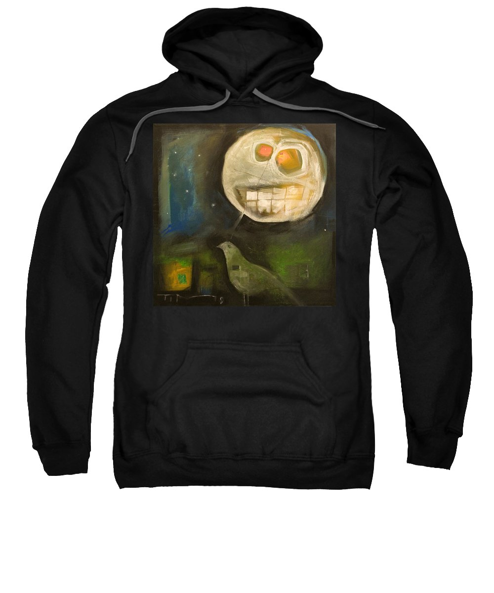 Moon Sweatshirt featuring the painting Night Bird Harvest Moon by Tim Nyberg