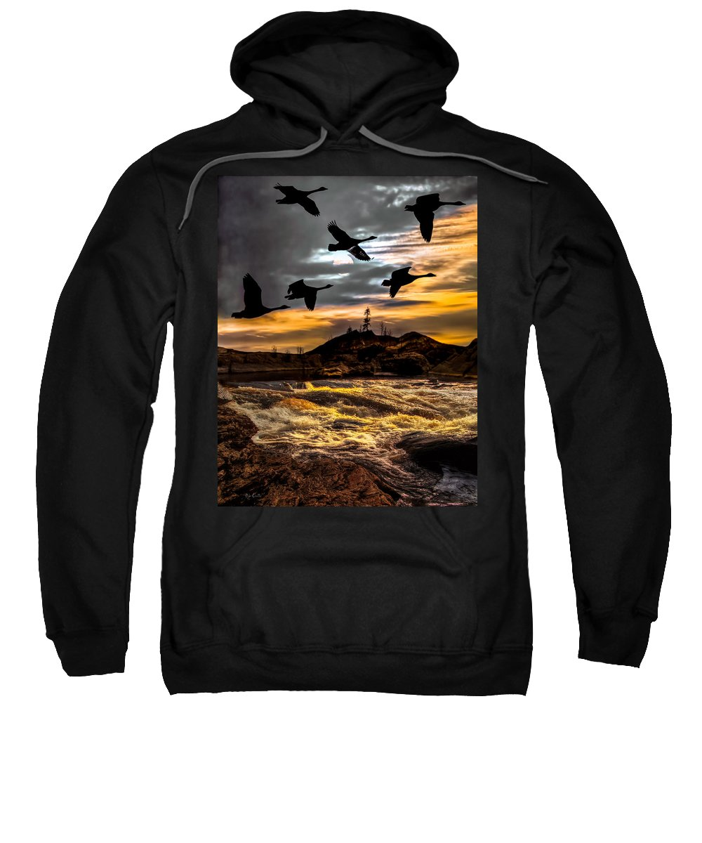 Canadian Geese Sweatshirt featuring the photograph Night Flight by Bob Orsillo