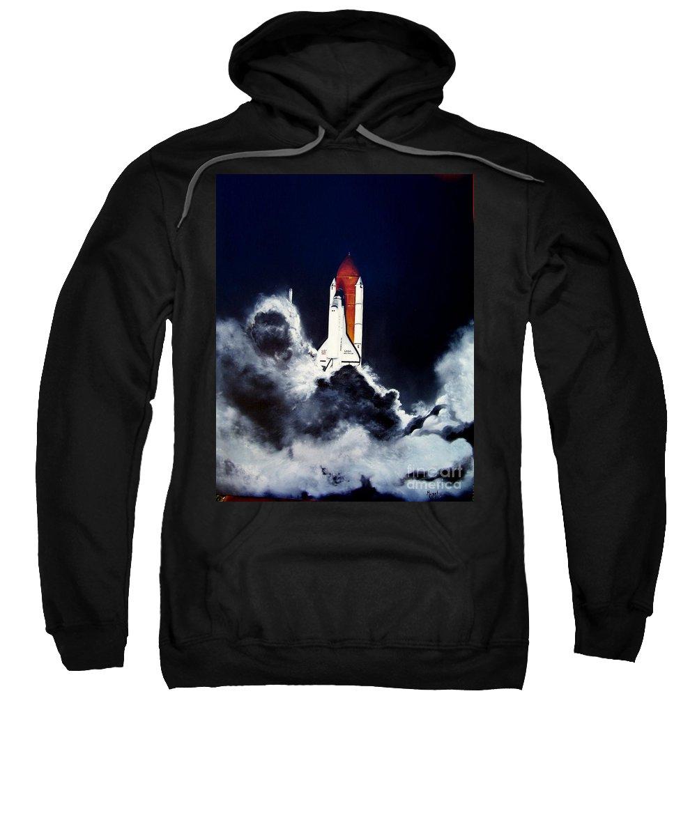Oil Sweatshirt featuring the painting Night Launch by Murphy Elliott