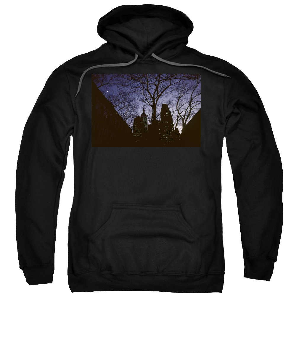 Cityscape Sweatshirt featuring the photograph Night Lights Empire State by David Hohmann
