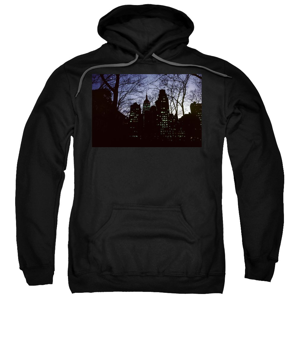 Cityscape Sweatshirt featuring the photograph Night Lights Empire State Two Trees by David Hohmann
