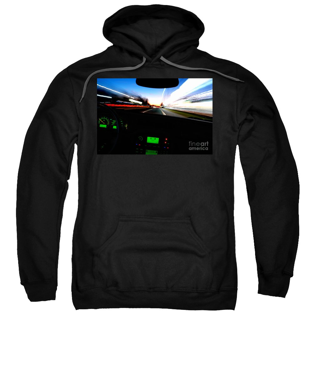 Car Sweatshirt featuring the photograph Night Ride by Olivier Le Queinec