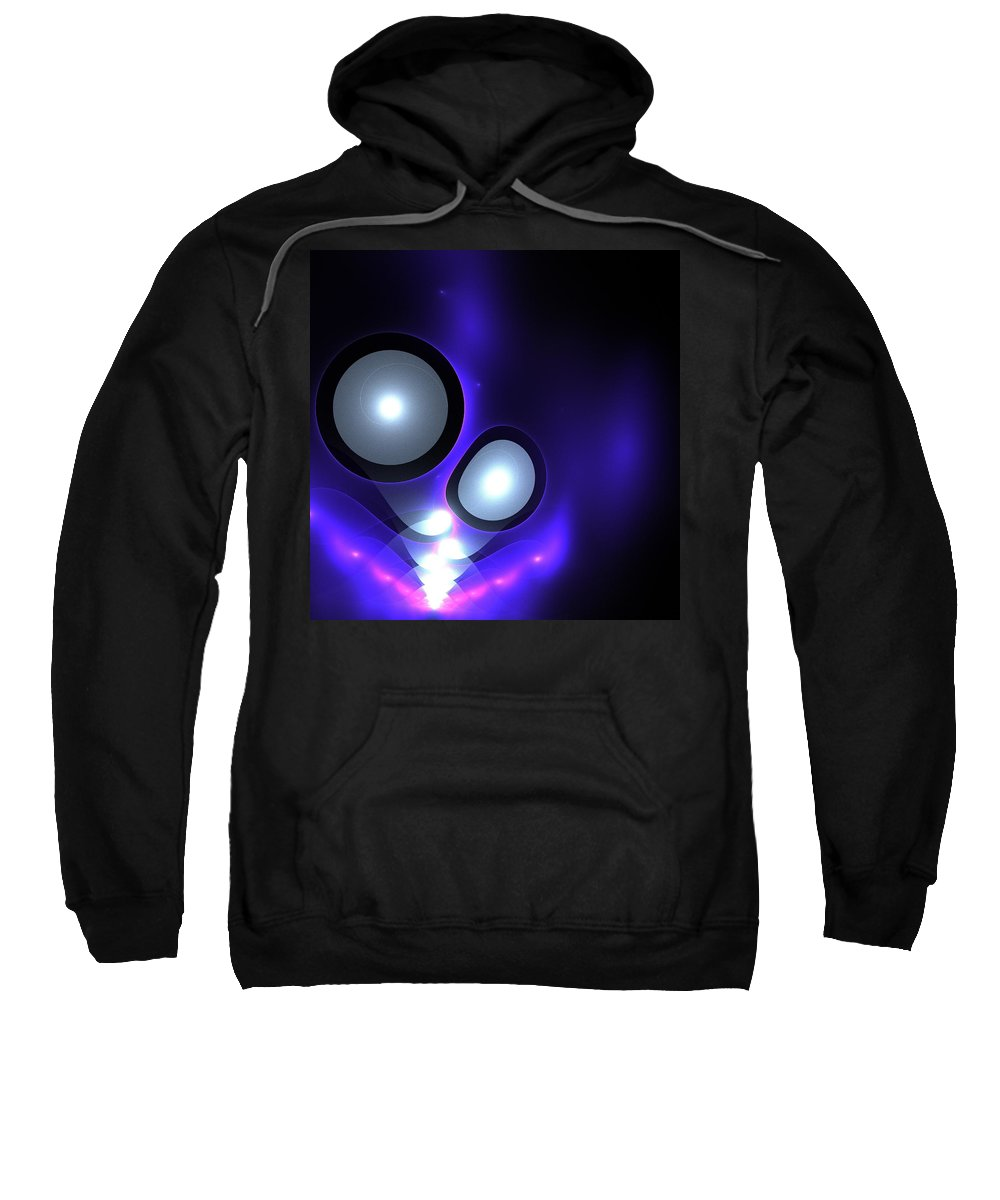 Night Sky Star Stars Blue Planet Fractal Fractals Digital Art Abstract Color Colorful Expressionism Sweatshirt featuring the digital art Night Sky by Steve K
