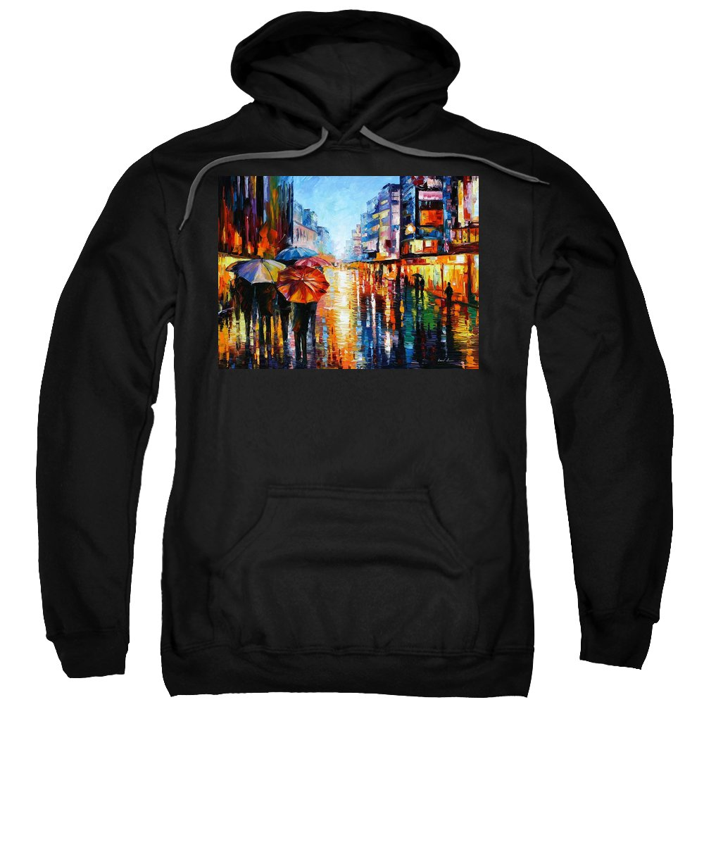 Oil Paintings Sweatshirt featuring the painting Night Umbrellas - Palette Knife Oil Painting On Canvas By Leonid Afremov by Leonid Afremov