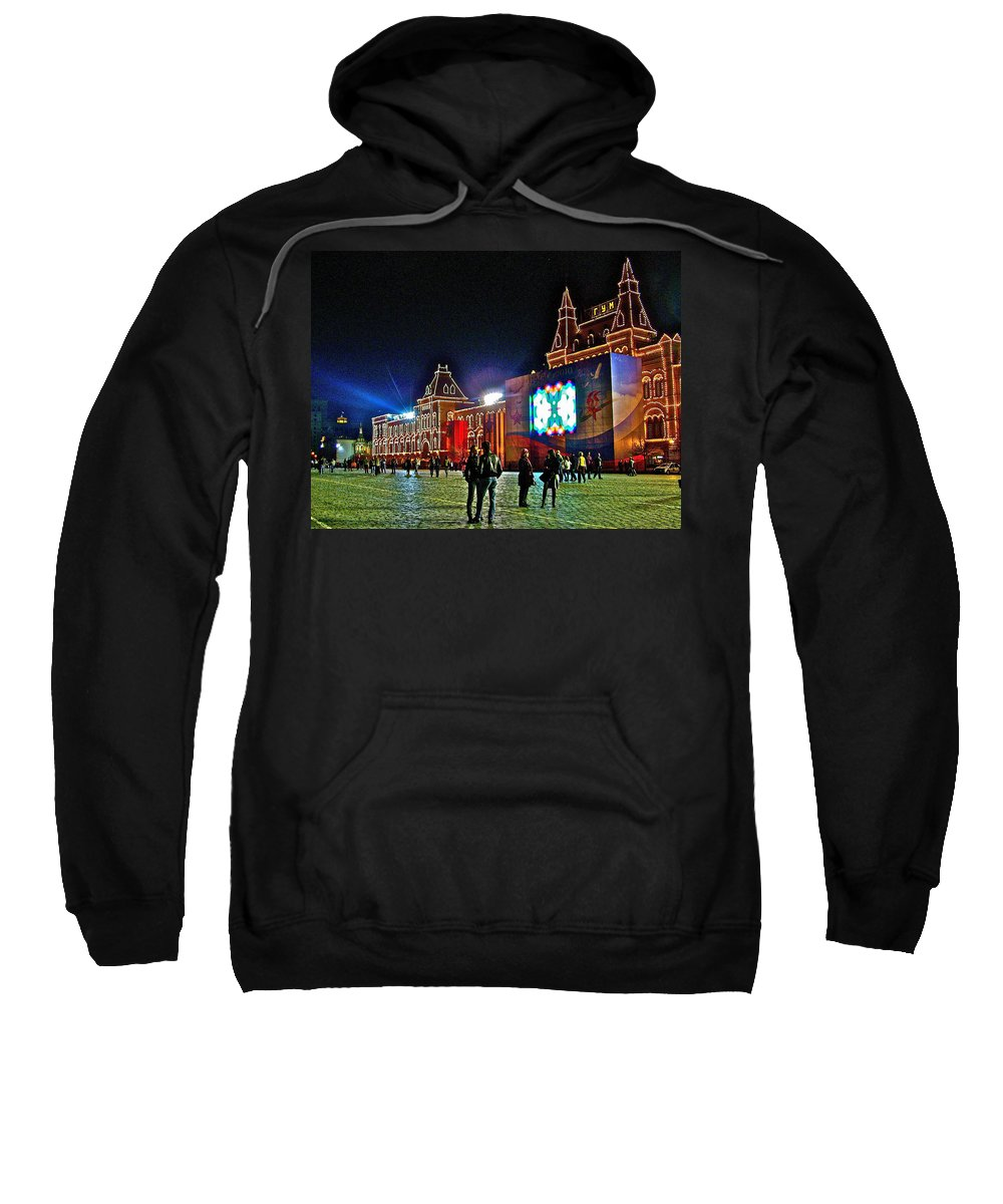 Night View Of Gum-former State Department Store-in Red Square At Night In Moscow Sweatshirt featuring the photograph Night View Of Gum-former State Department Store-in Red Square In Moscow-russia by Ruth Hager