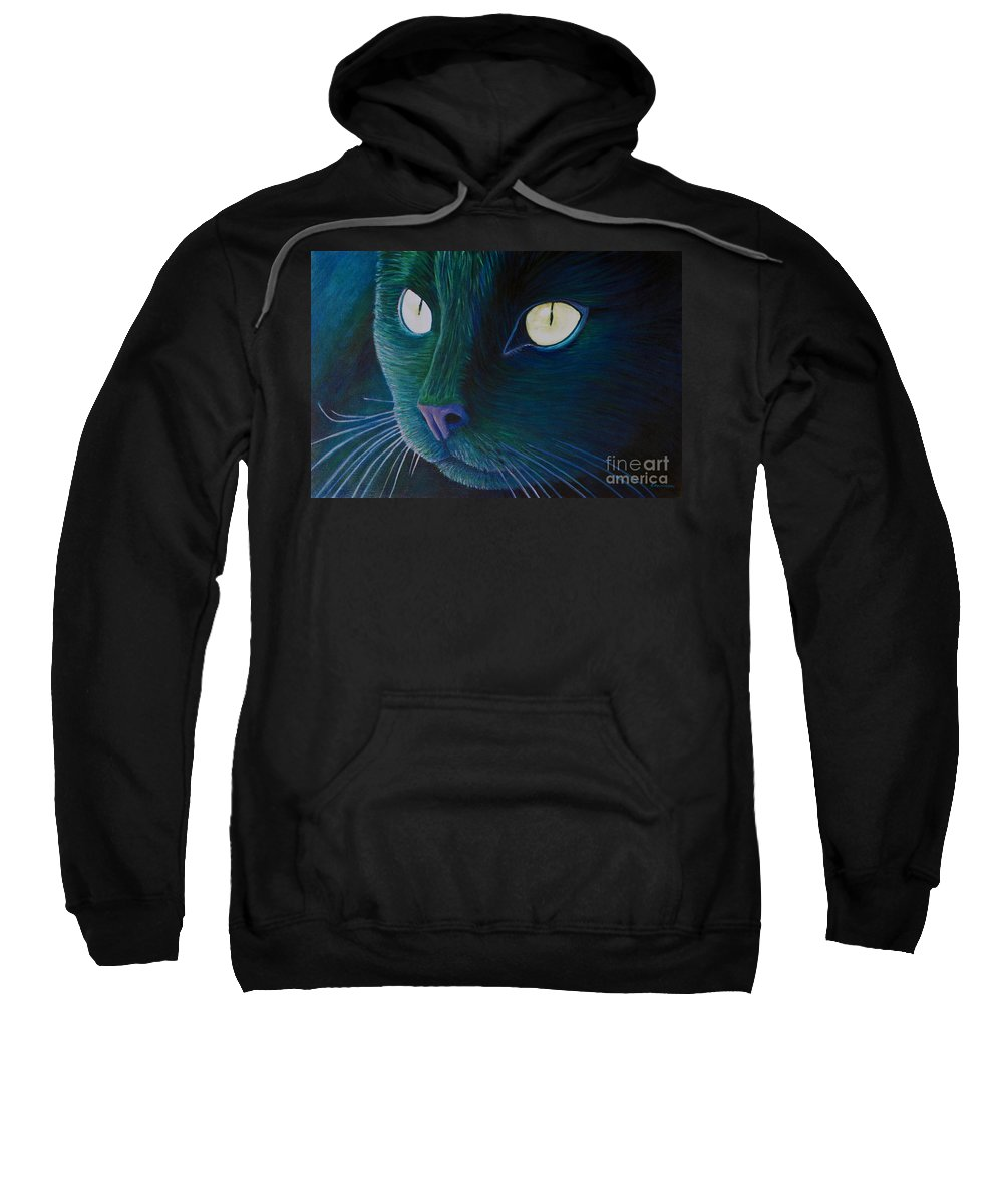 Cat Sweatshirt featuring the painting Night Vision by Brian Commerford