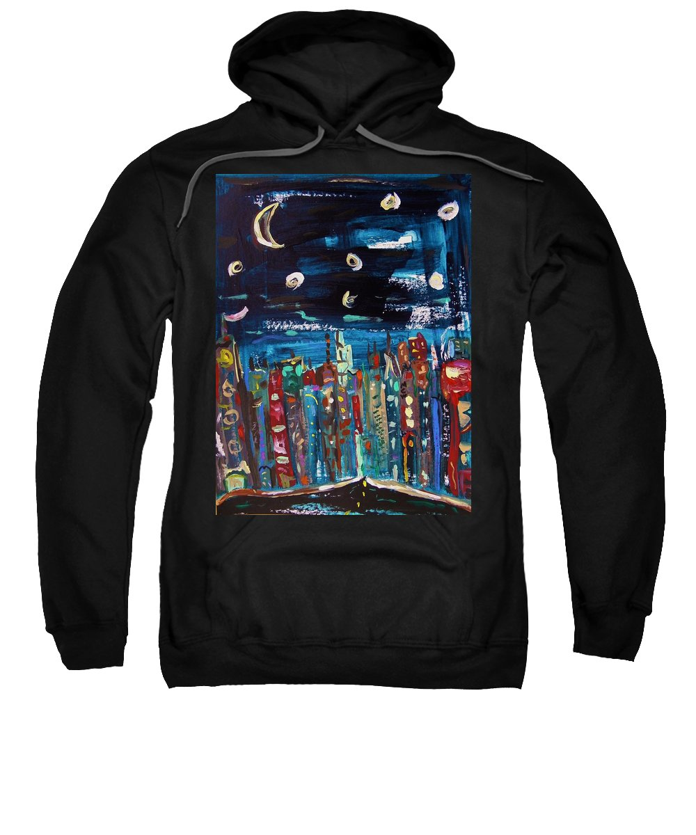 Moon Sweatshirt featuring the painting Night Vision by Mary Carol Williams