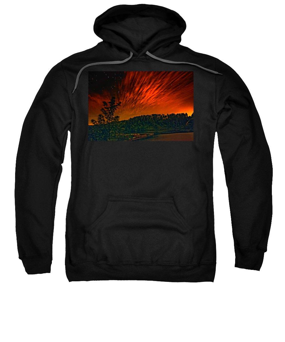Landscape Sweatshirt featuring the photograph Nightfire by Steve Harrington