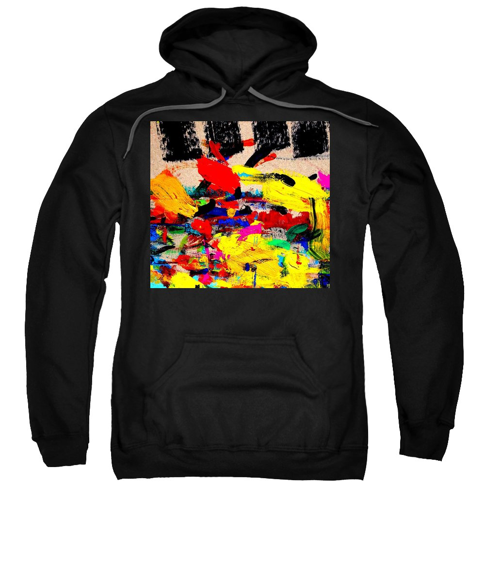 Abstract Sweatshirt featuring the painting Nighttown Music by John Nolan