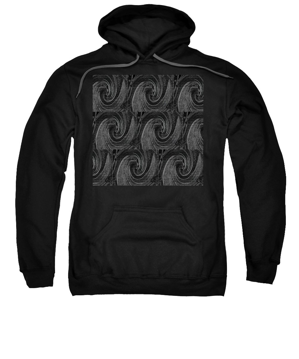 Waves Sweatshirt featuring the digital art Nine Times On Black by Helena Tiainen