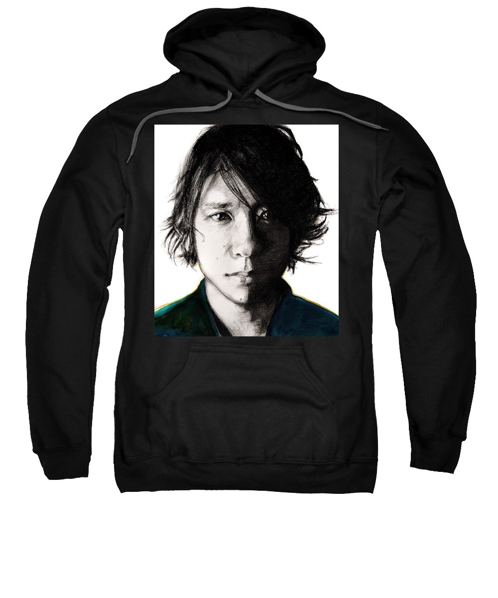 Portrait Sweatshirt featuring the drawing Nino by Molly Picklesimer