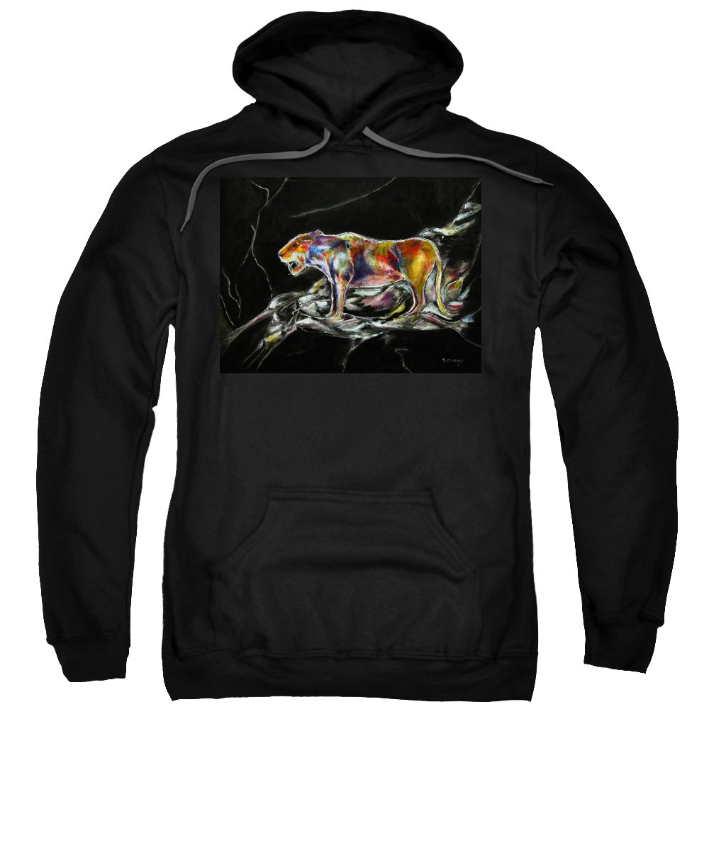 Animals Sweatshirt featuring the painting No Fear by Tom Conway