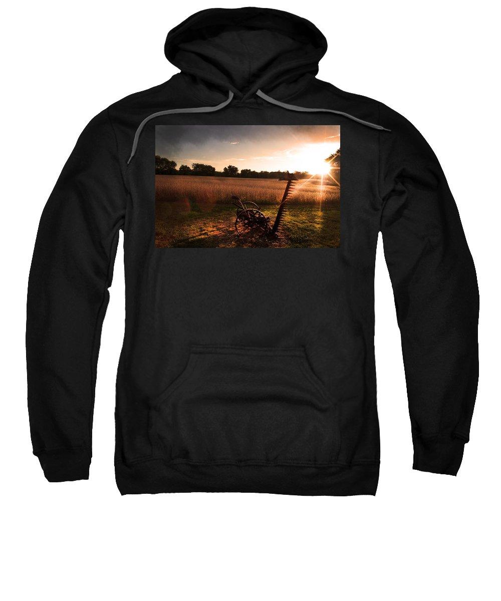 Farm Equipment Sweatshirt featuring the photograph No Longer Needed by Randall Branham