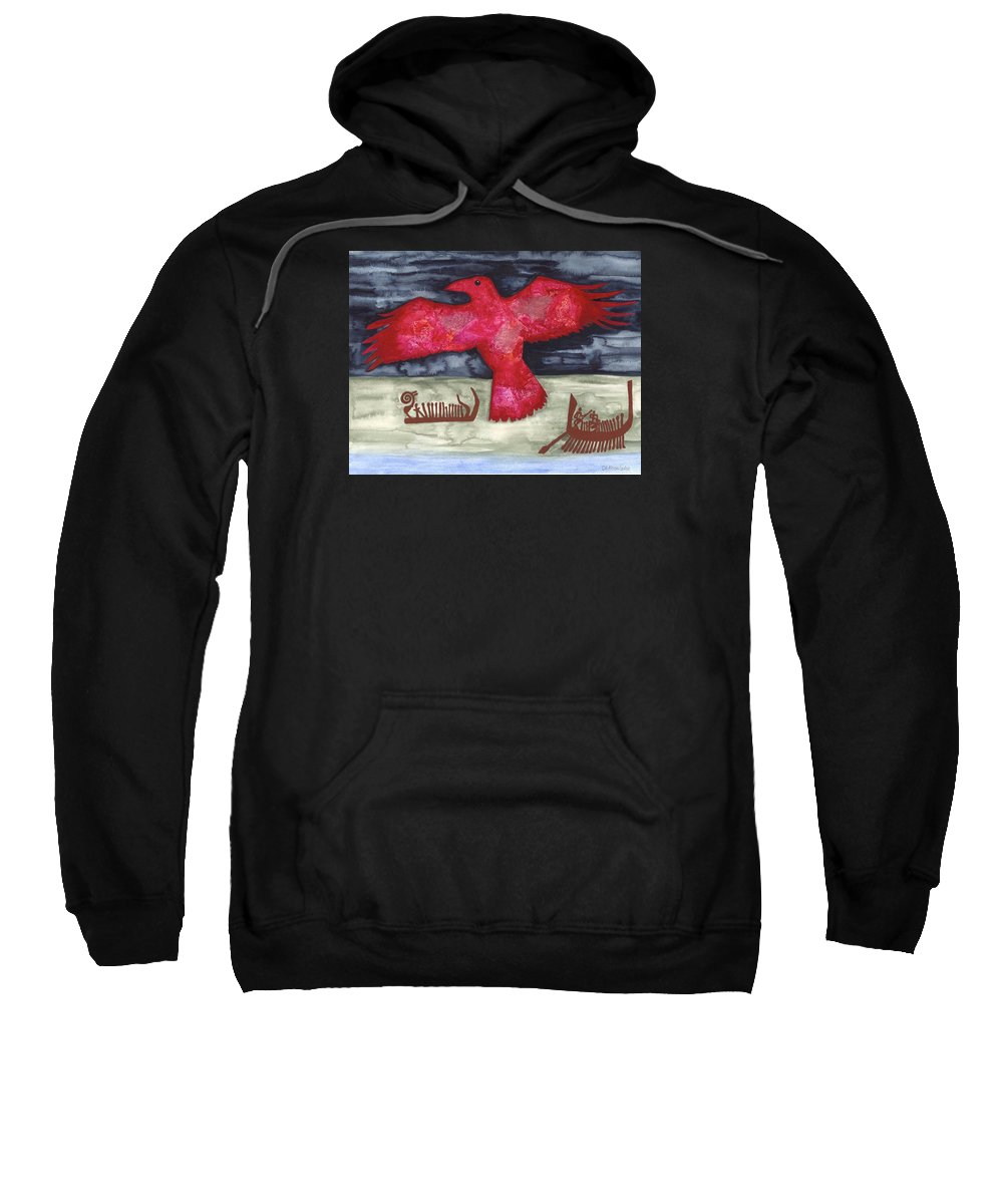 Cat Athena Louise Paintings Sweatshirt featuring the painting Norse Fairytale by Catherine Athena Louise