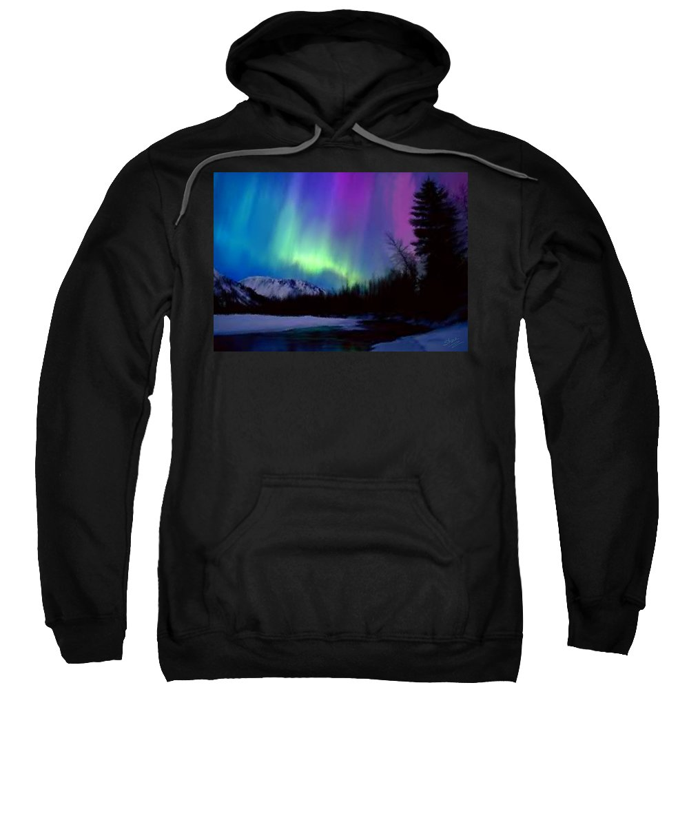 Northern Lights Sweatshirt featuring the painting Northern Lights by Shere Crossman