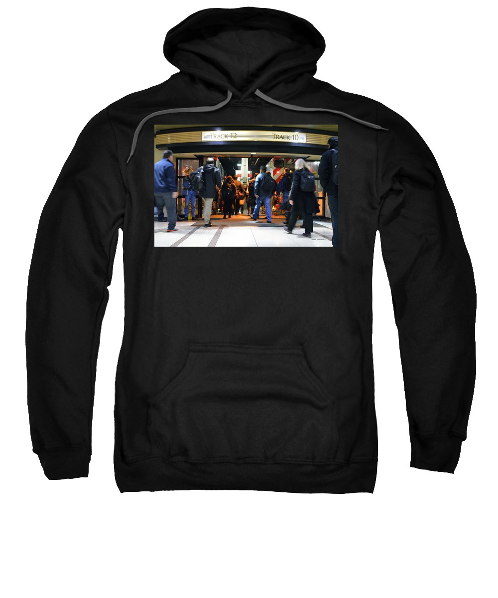 Union Station Sweatshirt featuring the photograph Now Boarding Track 12 And 10 For Home by Thomas Woolworth