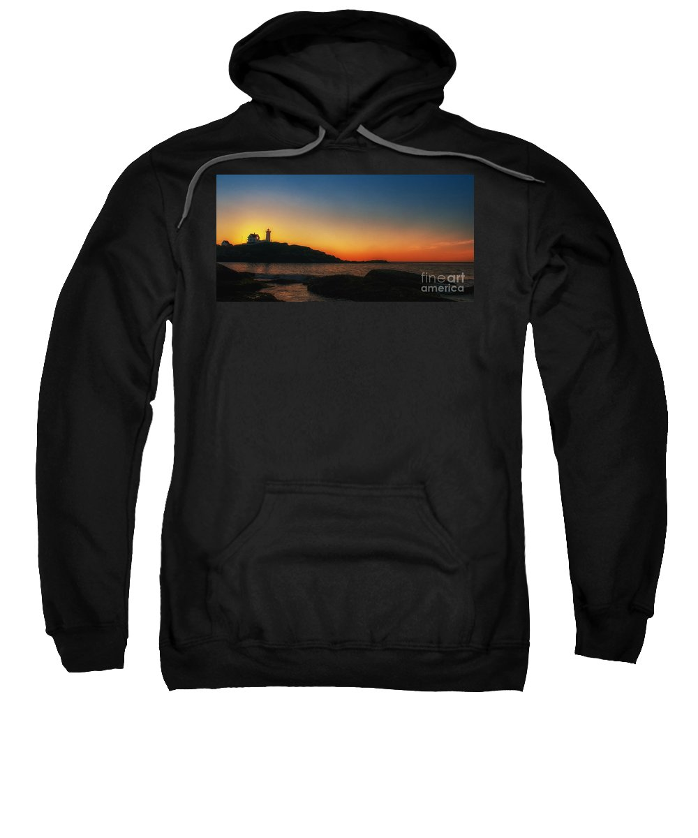 Nubble Sweatshirt featuring the photograph Nubble Sunrise by Scott Thorp