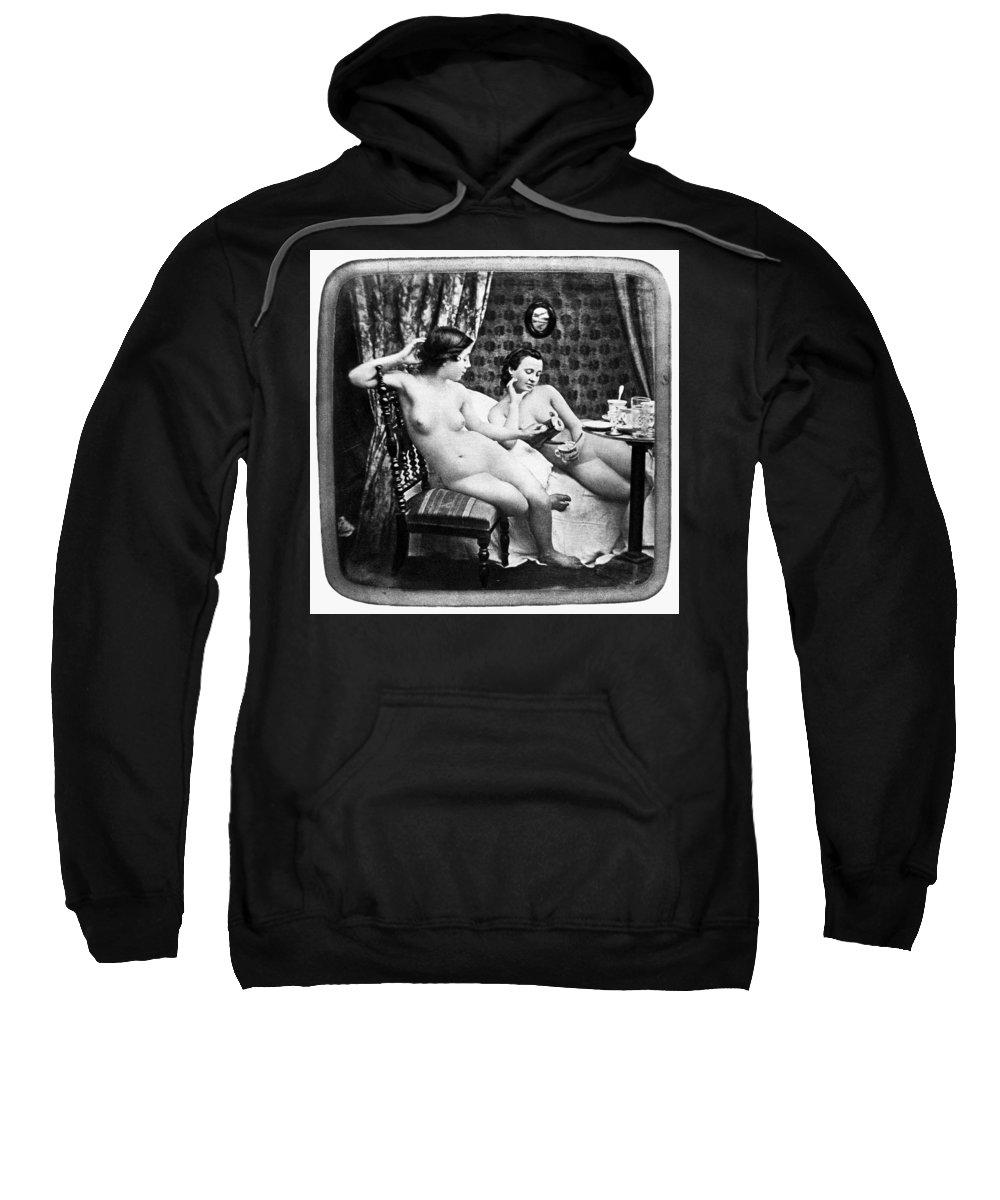 1850 Sweatshirt featuring the photograph Nudes Having Tea, C1850 by Granger