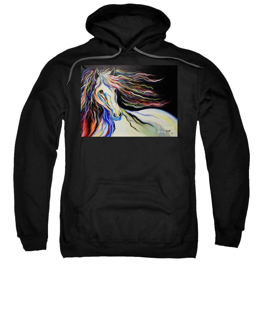 Horse Sweatshirt featuring the painting Nuella Horse With The White Shoulder by Janice Pariza