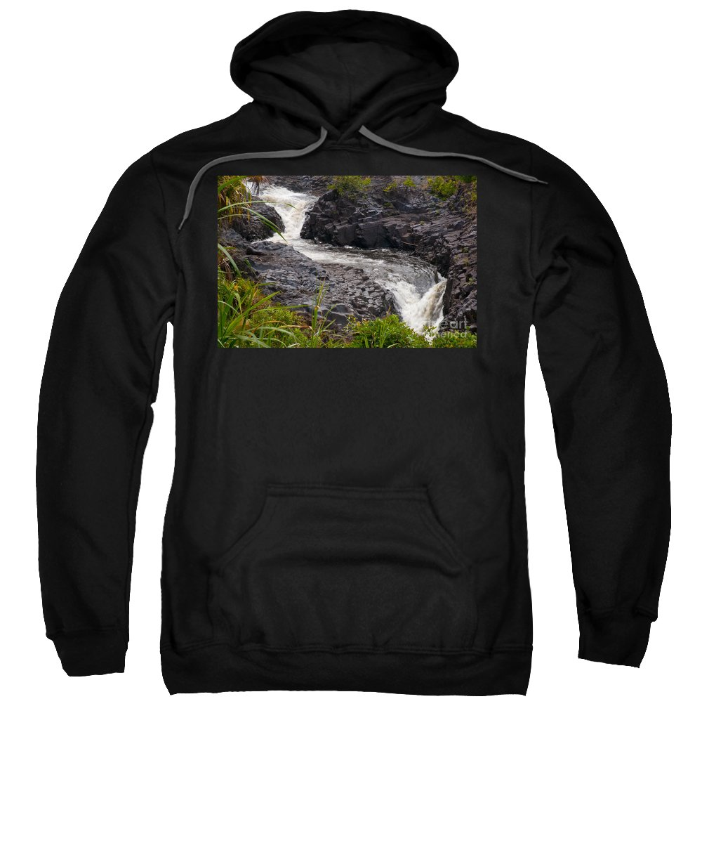 Ohe'o Gulch Haleakala National Park Seven Sacred Pools Area Maui Hawaii Waterfall Waterfalls Plant Plants Water Landscape Landscapes Waterscape Waterscapes Nature Volcanic Rock Sweatshirt featuring the photograph Ohe'o Gulch by Bob Phillips