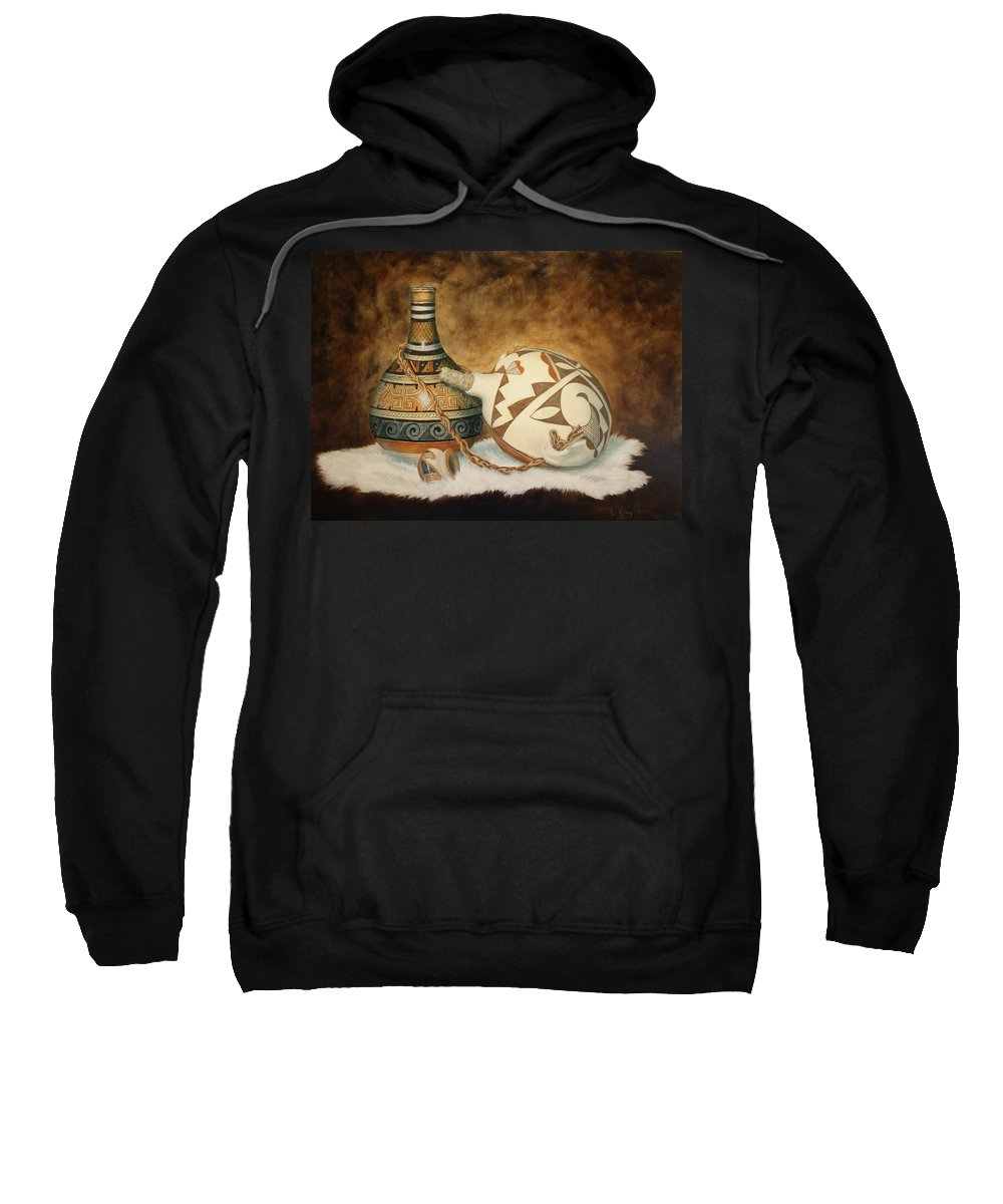 Roena King Sweatshirt featuring the painting Oil Painting - Indian Pots by Roena King