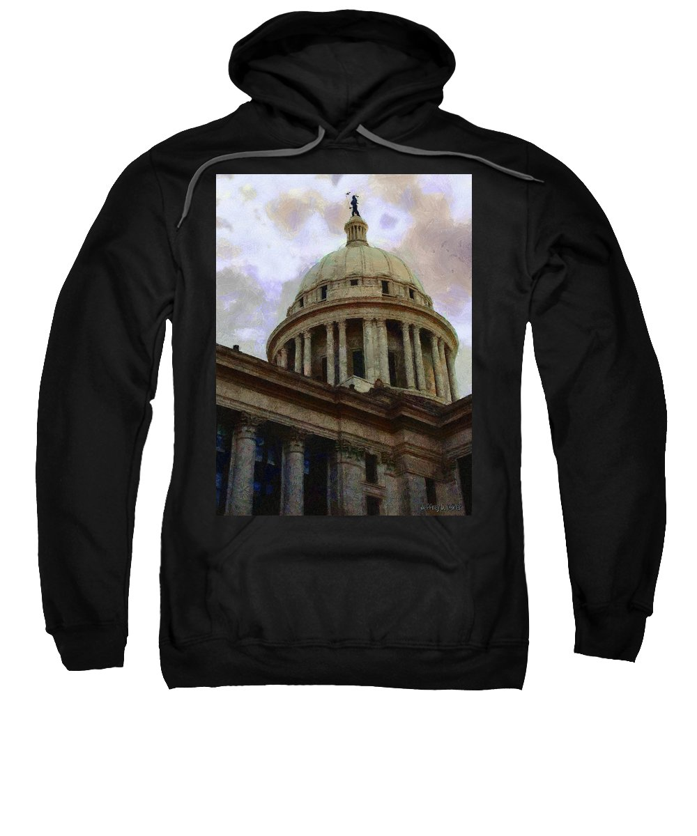 Architecture Sweatshirt featuring the painting Oklahoma Capital by Jeffrey Kolker